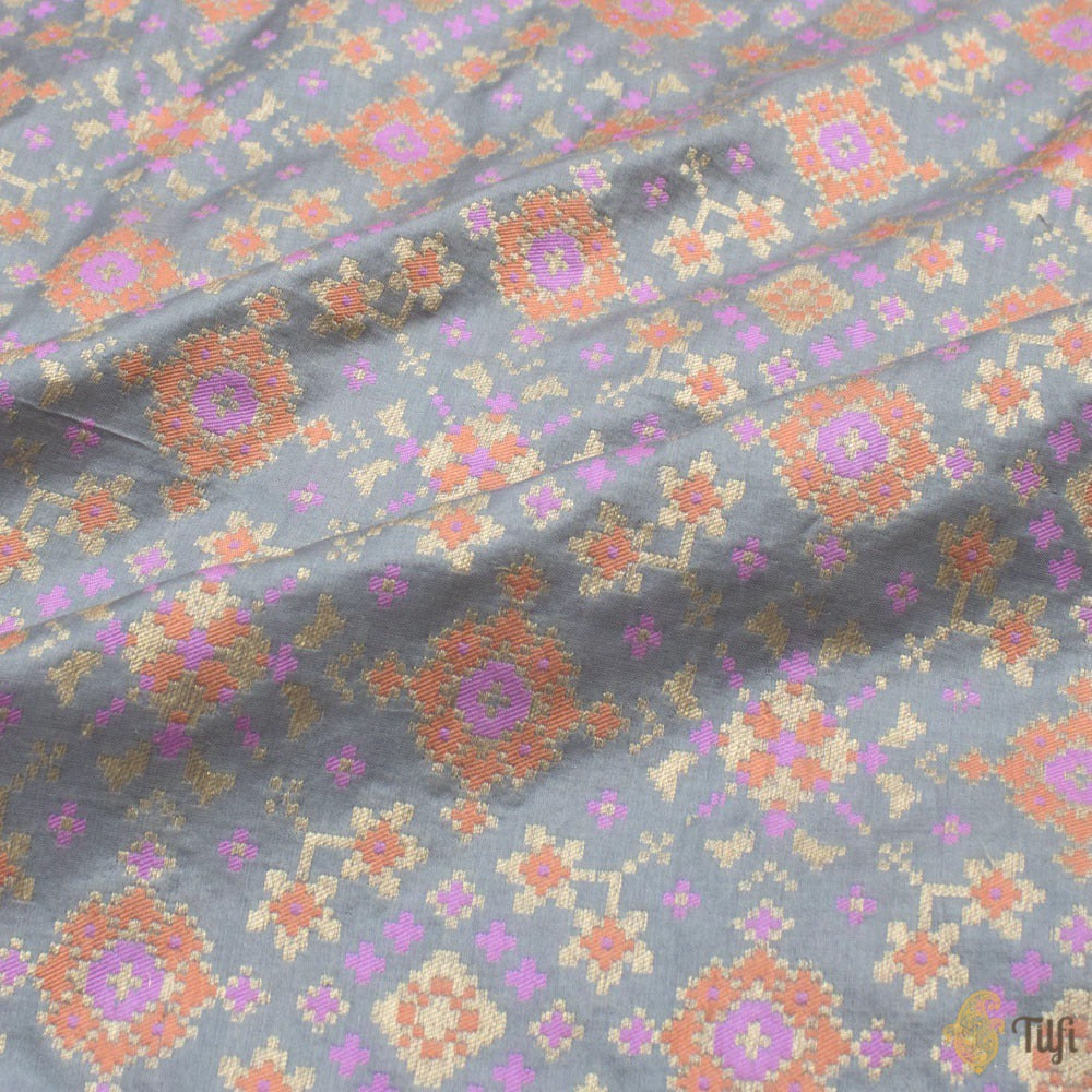 Grey Pure Katan Silk Banarasi Handloom Patola Saree