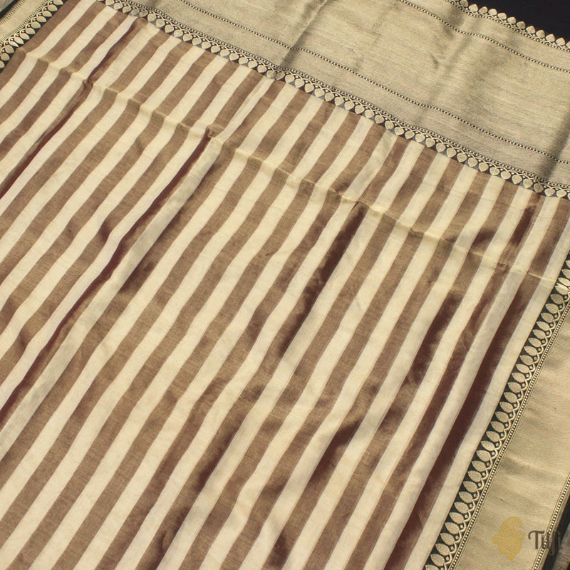 Off-White-Chocolate Brown Pure Cotton Tissue Banarasi Handloom Saree