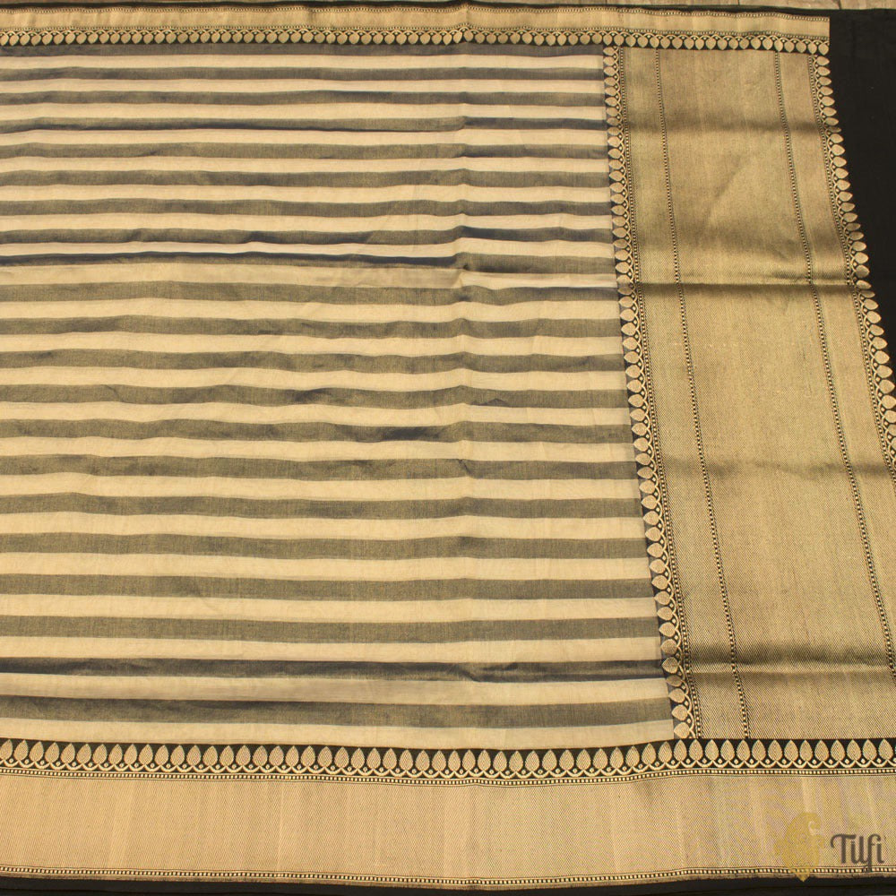 Off-White-Navy Blue Pure Cotton Tissue Banarasi Handloom Saree