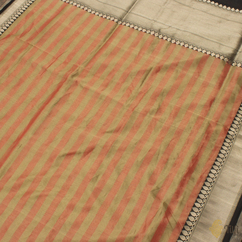 Sage Green-Orange Pure Cotton Tissue Banarasi Handloom Saree