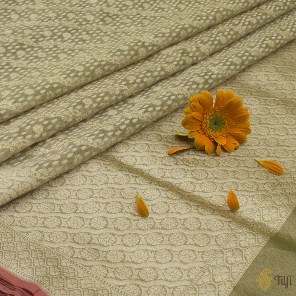 Green-Gold Pure Kora Tissue Banarasi Handloom Saree