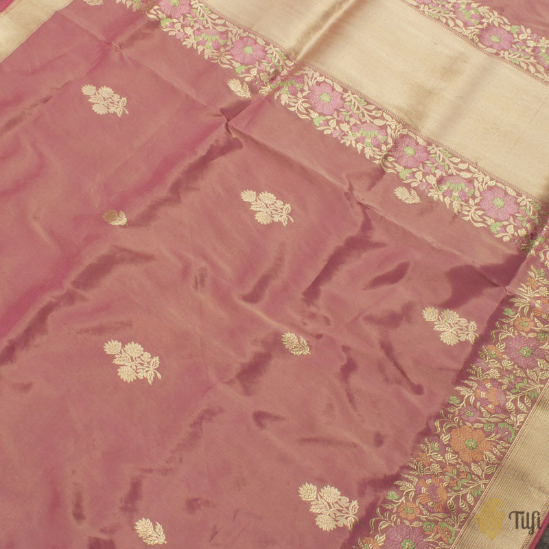 Coral Peach-Gold Pure Katan Silk Tissue Banarasi Handloom Saree
