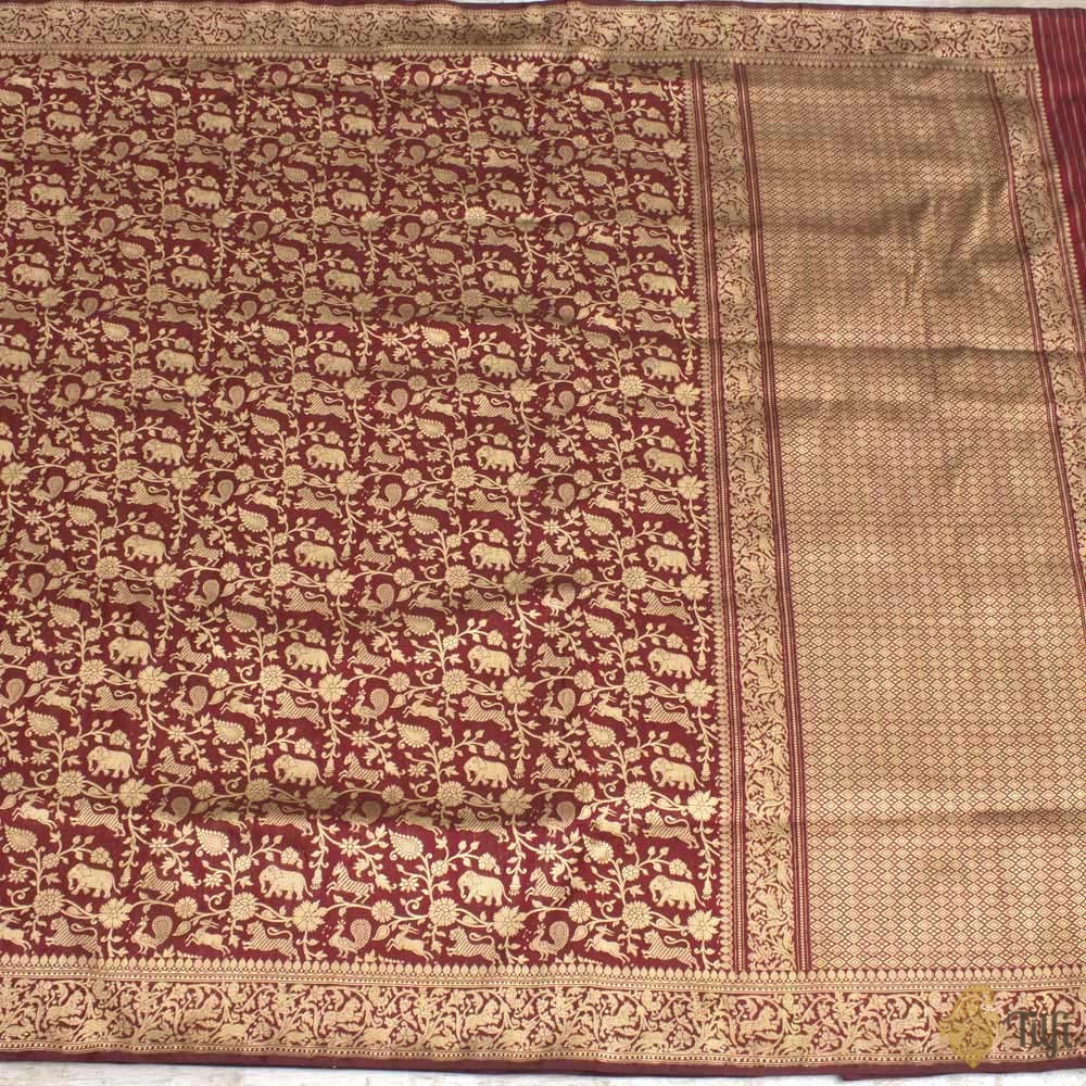 Black-Red Pure Katan Silk Banarasi Shikaargah Handloom Saree