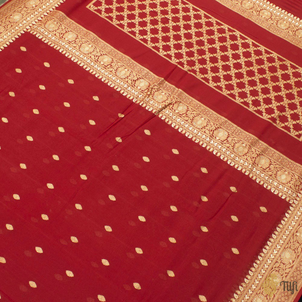Reddish Maroon Pure Georgette Banarasi Handloom Saree