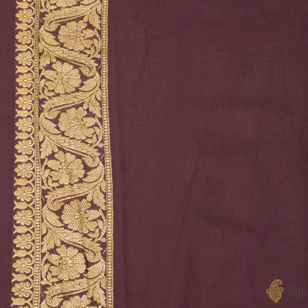 Old Mauve Pure Georgette Banarasi Handloom Saree