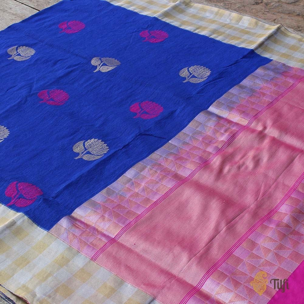 Blue Pure Tussar Silk Banarasi Handloom Saree