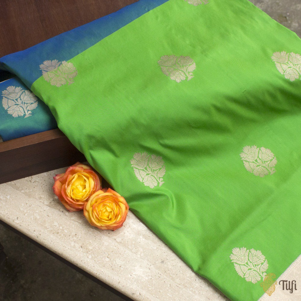 Blue-Green Pure Katan Silk Banarasi Kadiyal Handloom Saree