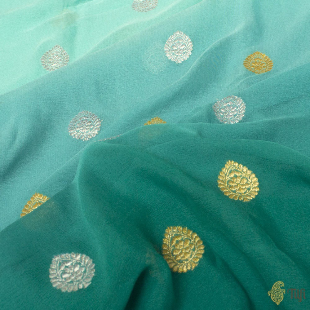 Light Blue-Aqua Green Ombré Pure Georgette Banarasi Handloom Saree