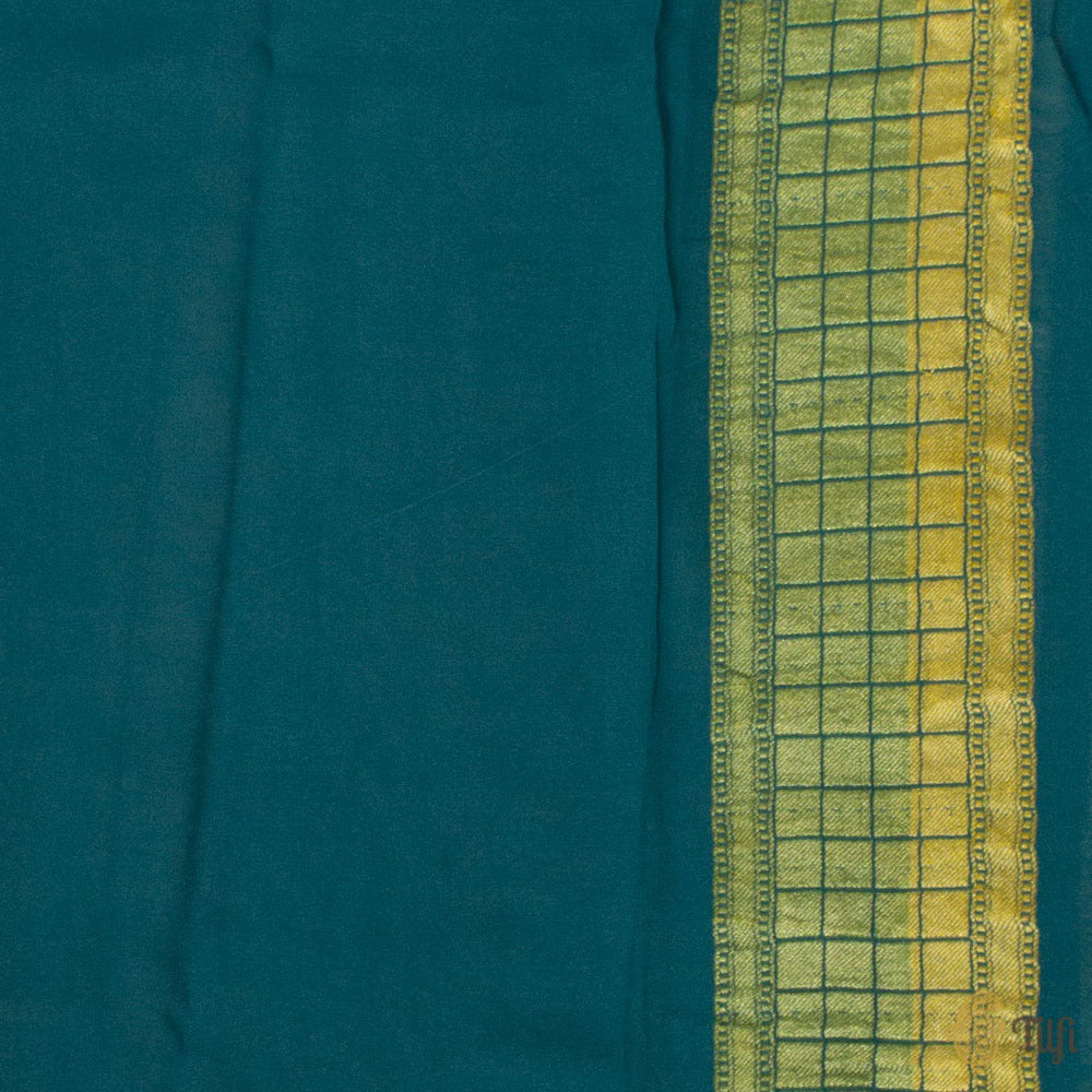 Light Blue-Blue Ombré Pure Georgette Banarasi Handloom Saree