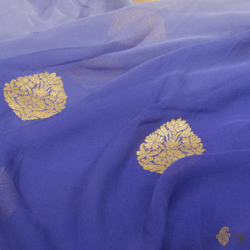 Royal Blue Ombré Pure Georgette Banarasi Handloom Saree