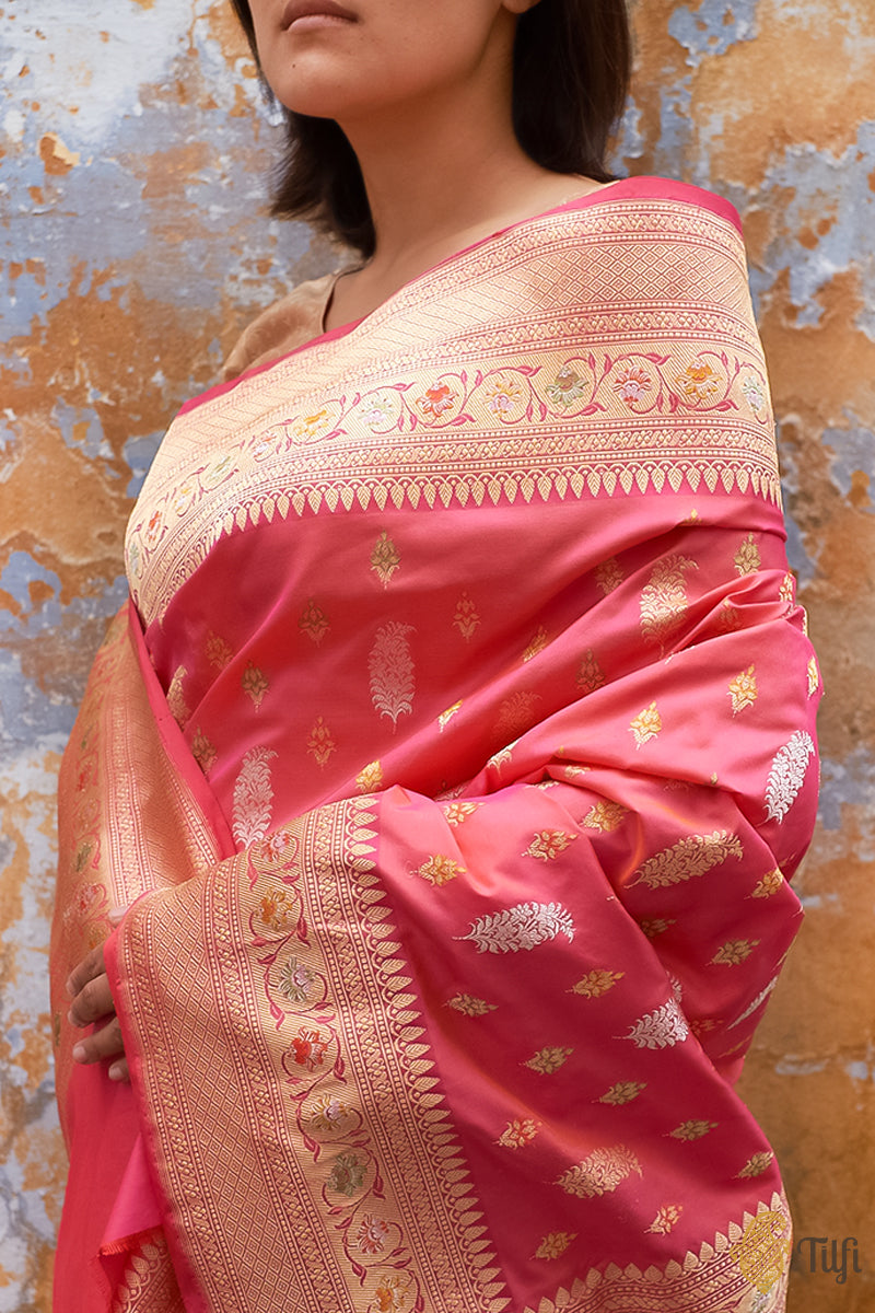 Orange-Pink Pure Katan Silk Banarasi Handloom Saree