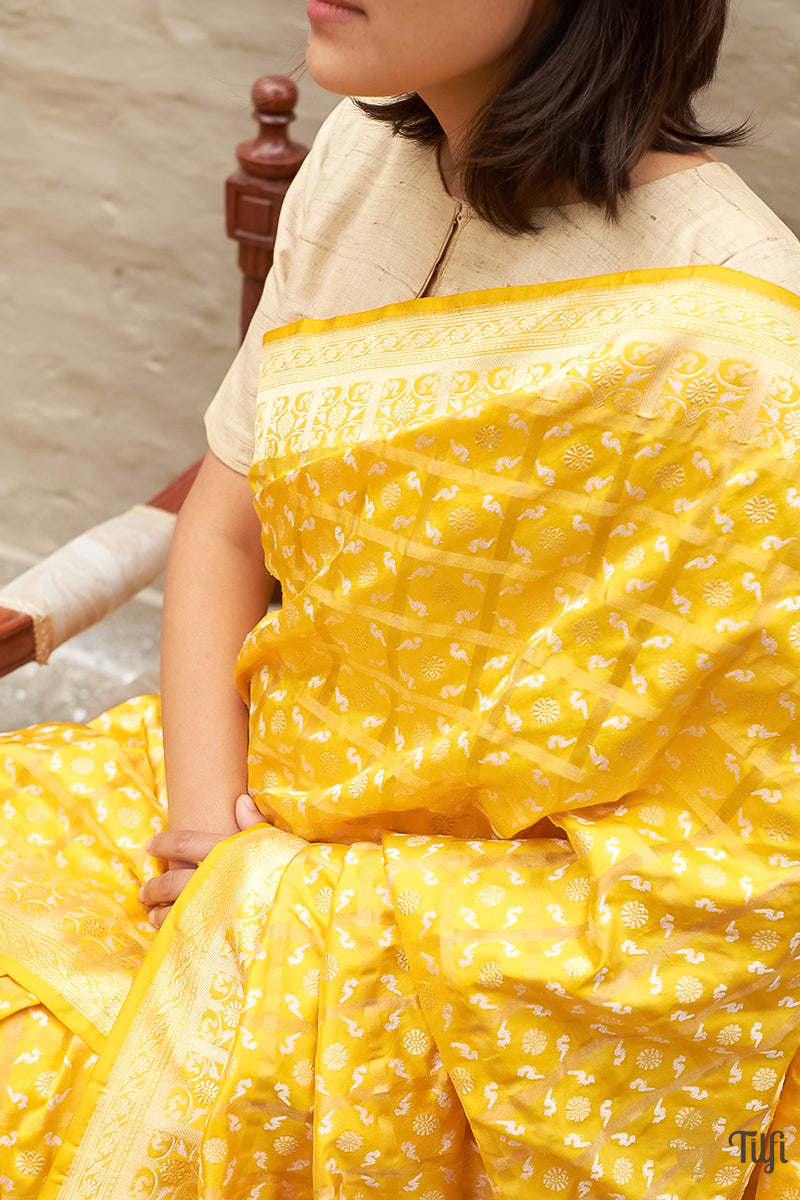 Yellow Pure Katan Silk Real Zari Banarasi Handloom Saree