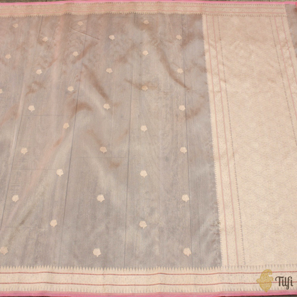 Peach Pure Kora Tissue Silk Banarasi Handloom Saree