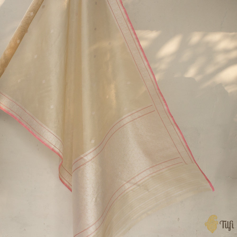 Light Gold Pure Kora Tissue Silk Banarasi Handloom Saree