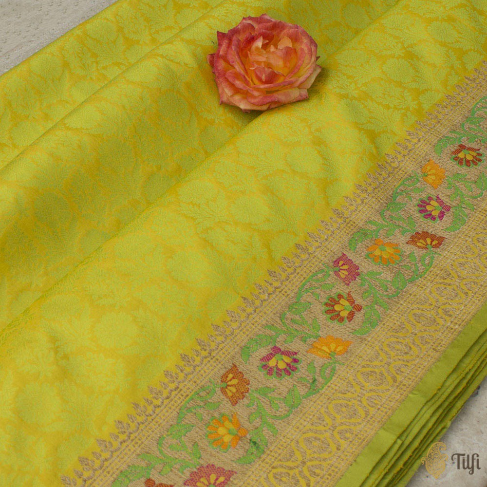 Yellow-Lime Green Pure Katan Silk Banarasi Handloom Saree