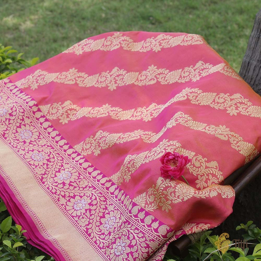 Orange-Indian Pink Pure Katan Silk Banarasi Handloom Saree