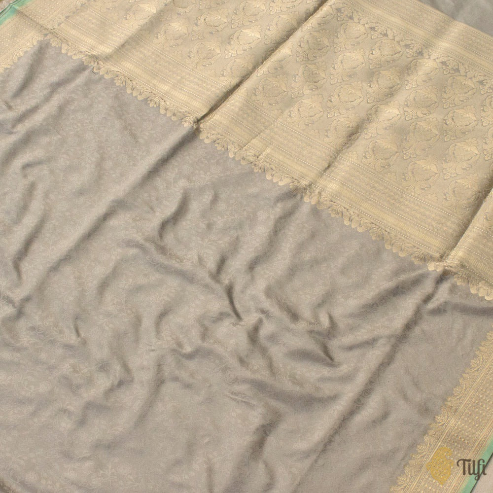 Grey Pure Soft Satin Silk Banarasi Handloom Saree