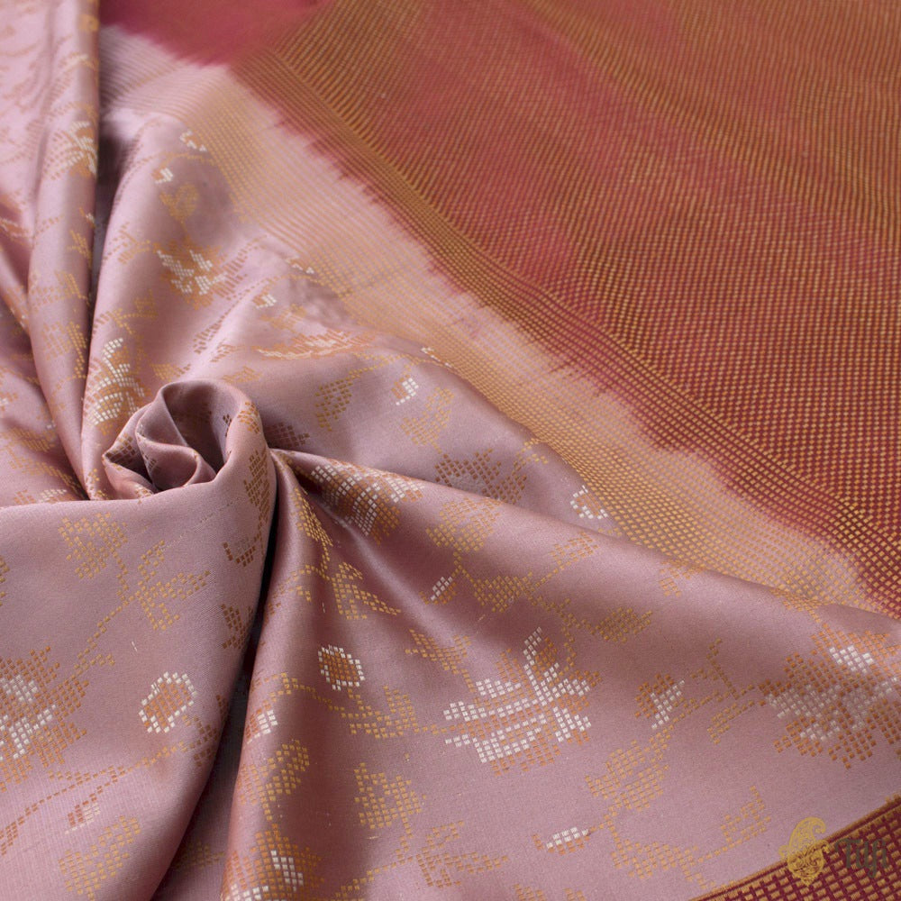 Old Rose Pink Pure Soft Satin Silk Banarasi Handloom Saree