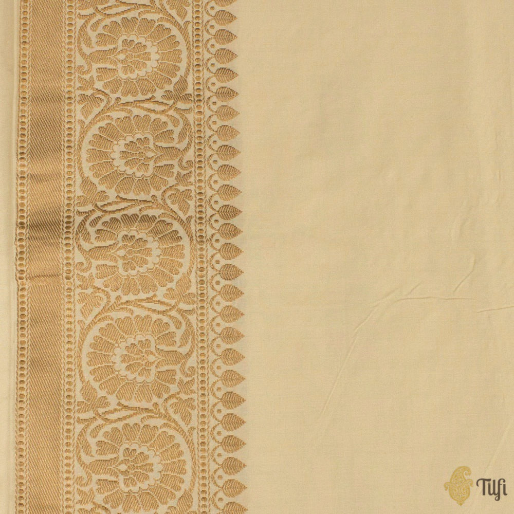 Off-White Pure Ektara Spun Silk Handloom Banarasi Saree