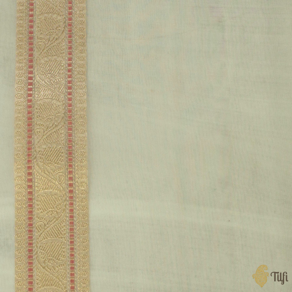 White Pure Kora Silk Handloom Banarasi Saree