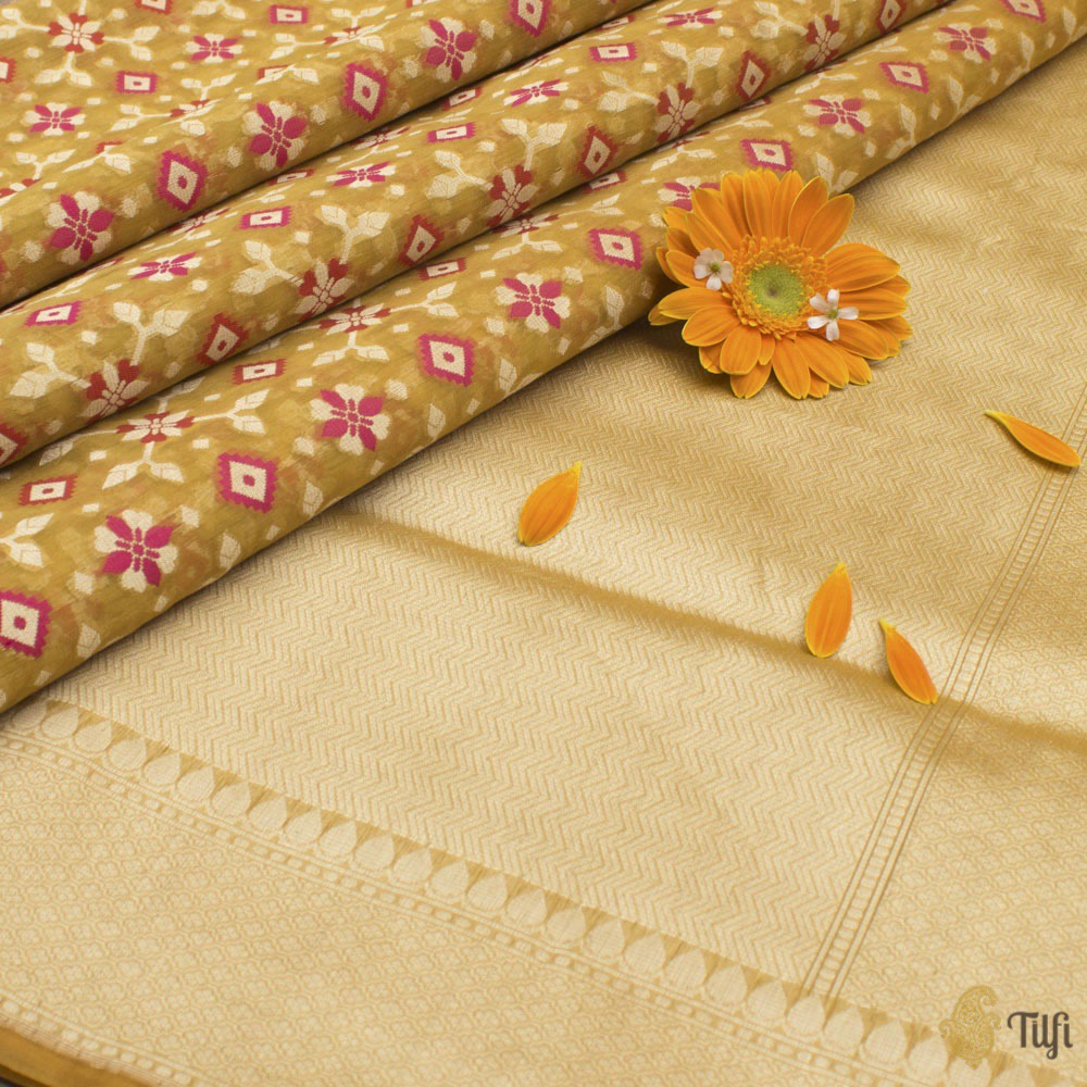 Mustard Pure Kora Silk by Cotton Banarasi Handloom Saree