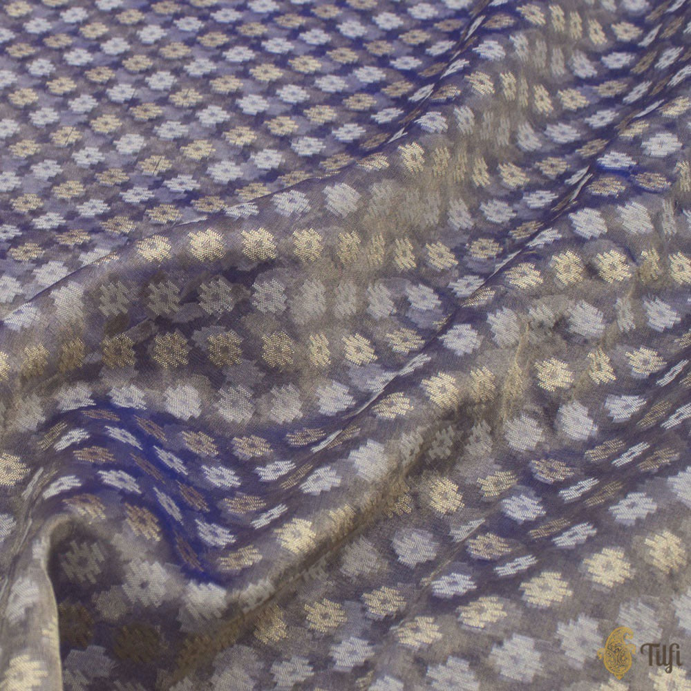 Purple-Gold Pure Kora Tissue Banarasi Handloom Saree