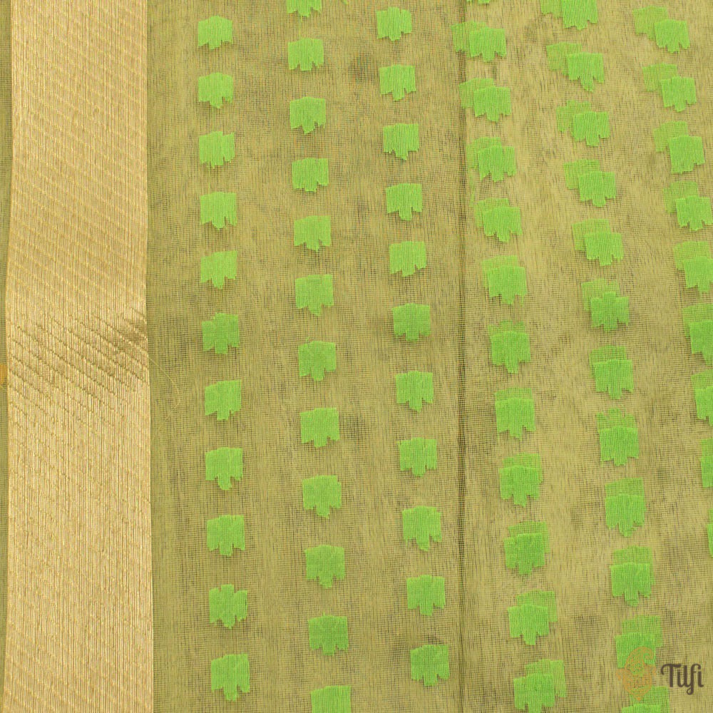 Mint Yellow Pure Kora Silk Net Banarasi Handloom Saree