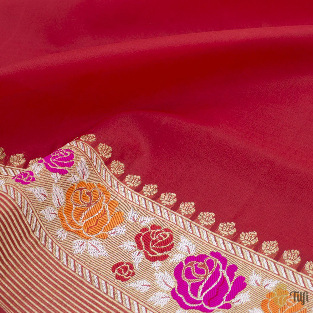 Red Pure Kora Silk Banarasi Handloom Saree