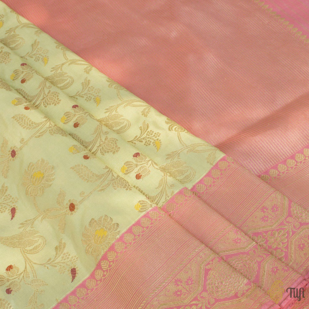 Light Pista Green-Pink Pure Katan Silk Banarasi Handloom Saree