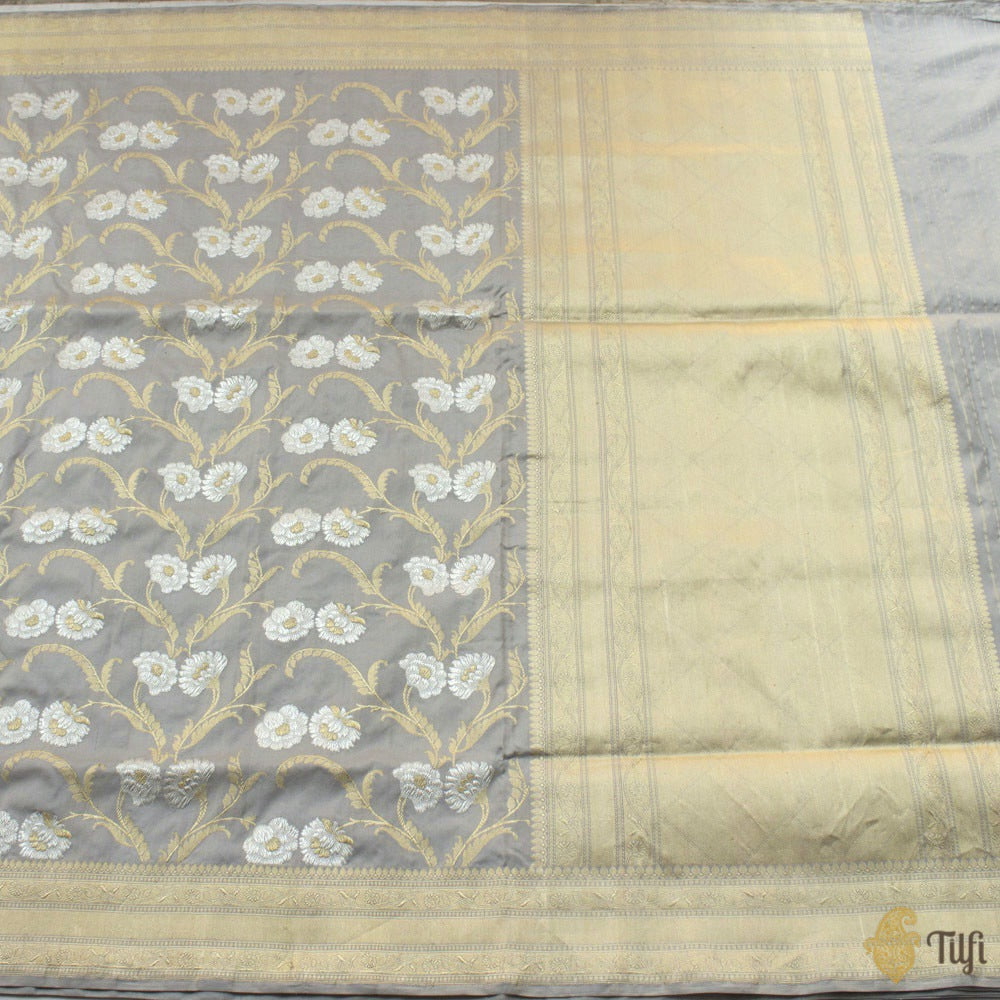 Grey Pure Katan Silk Banarasi Handloom Saree