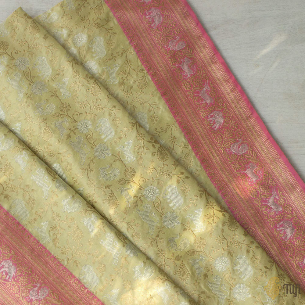 Light Pista Green-Pink Pure Katan Silk Banarasi Handloom Shikaargah Saree
