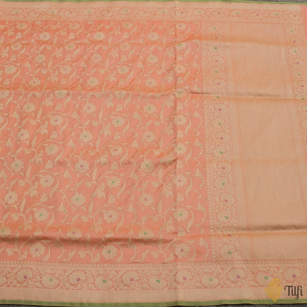 Peach Pure Katan Silk Banarasi Handloom Saree