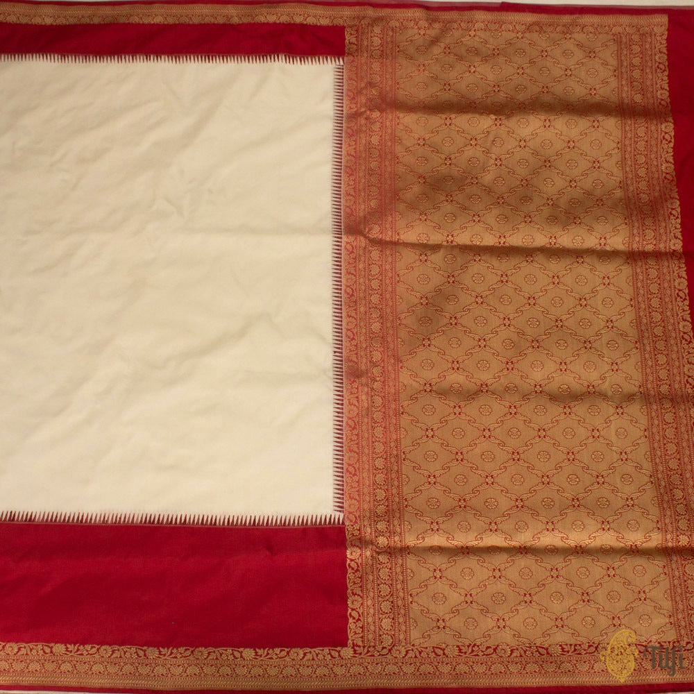 White-Red Pure Katan Silk Banarasi Handloom Saree