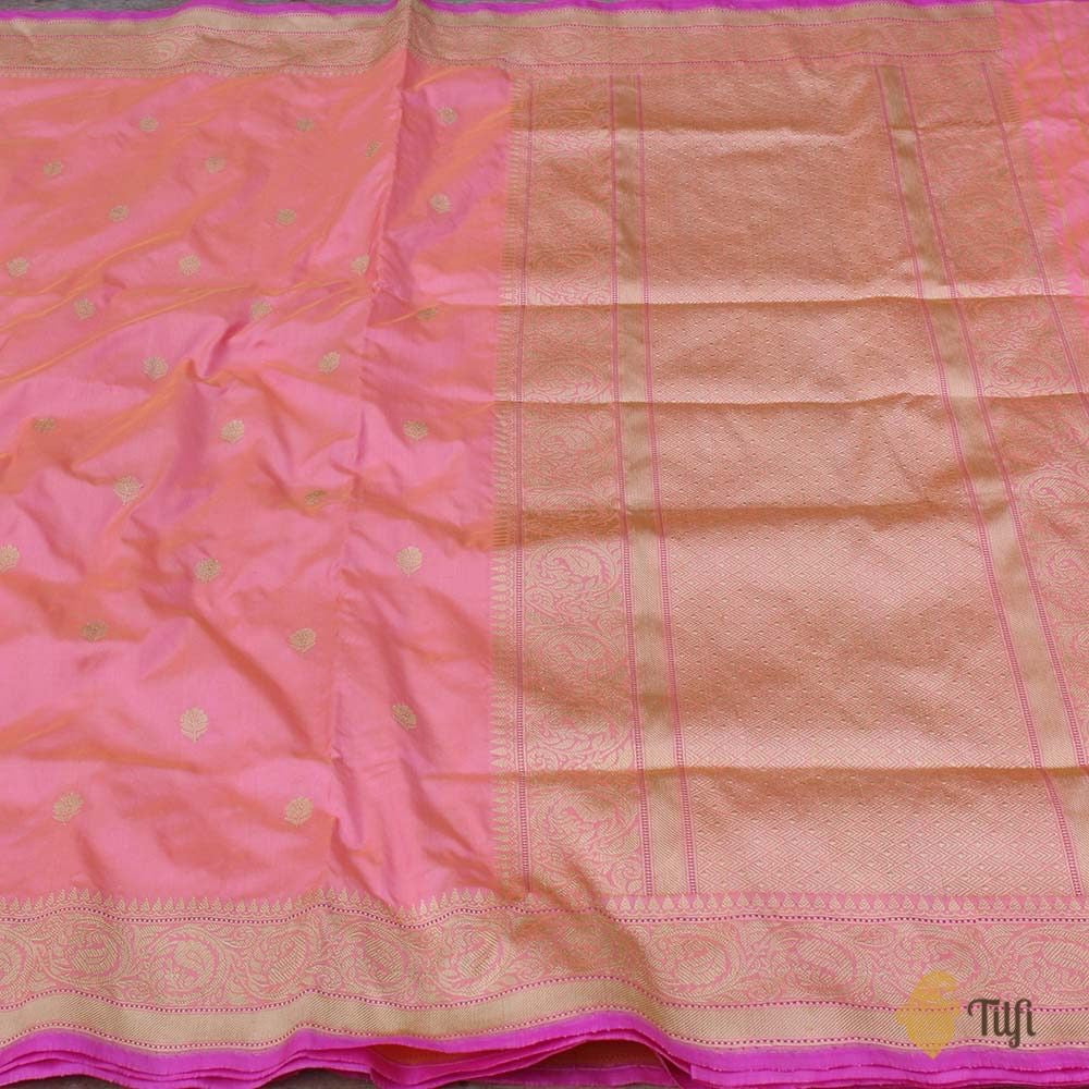 Yellow-Peach Pure Katan Silk Banarasi Handloom Saree