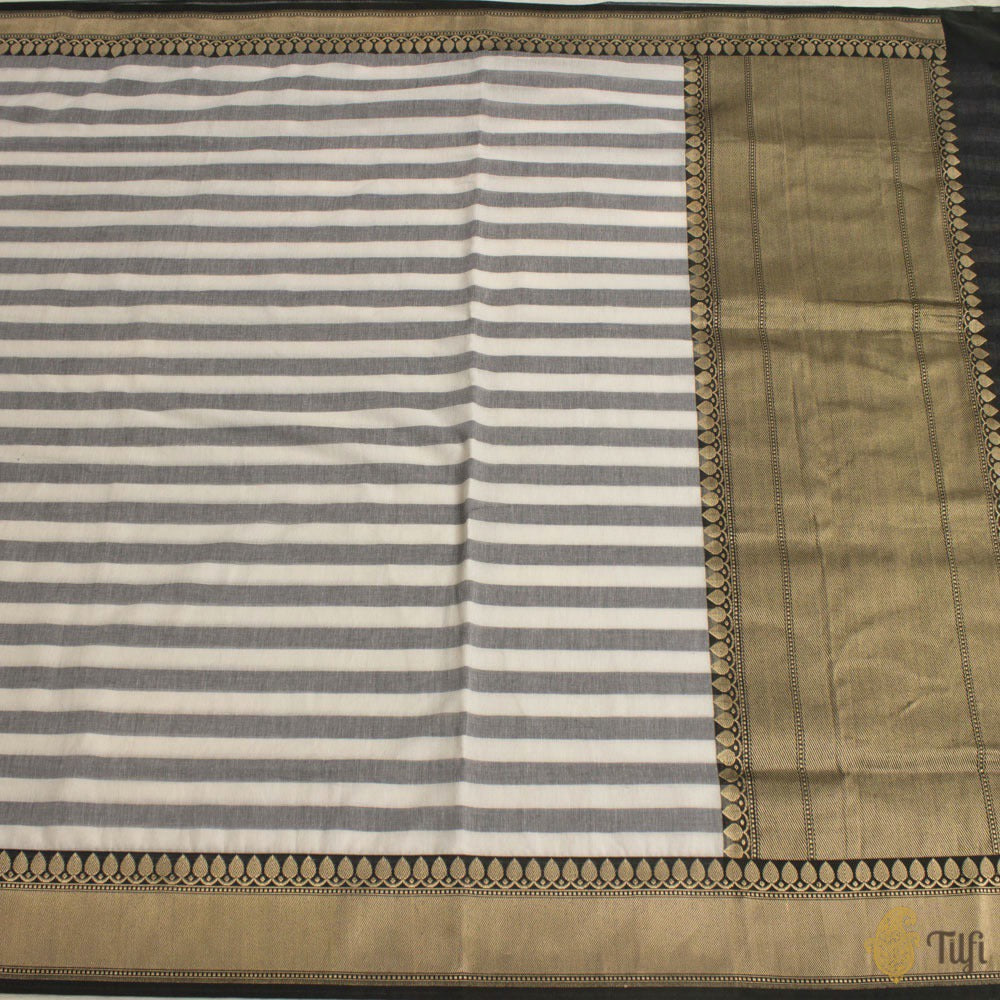 Off-White-Grey Pure Cotton Banarasi Handloom Saree