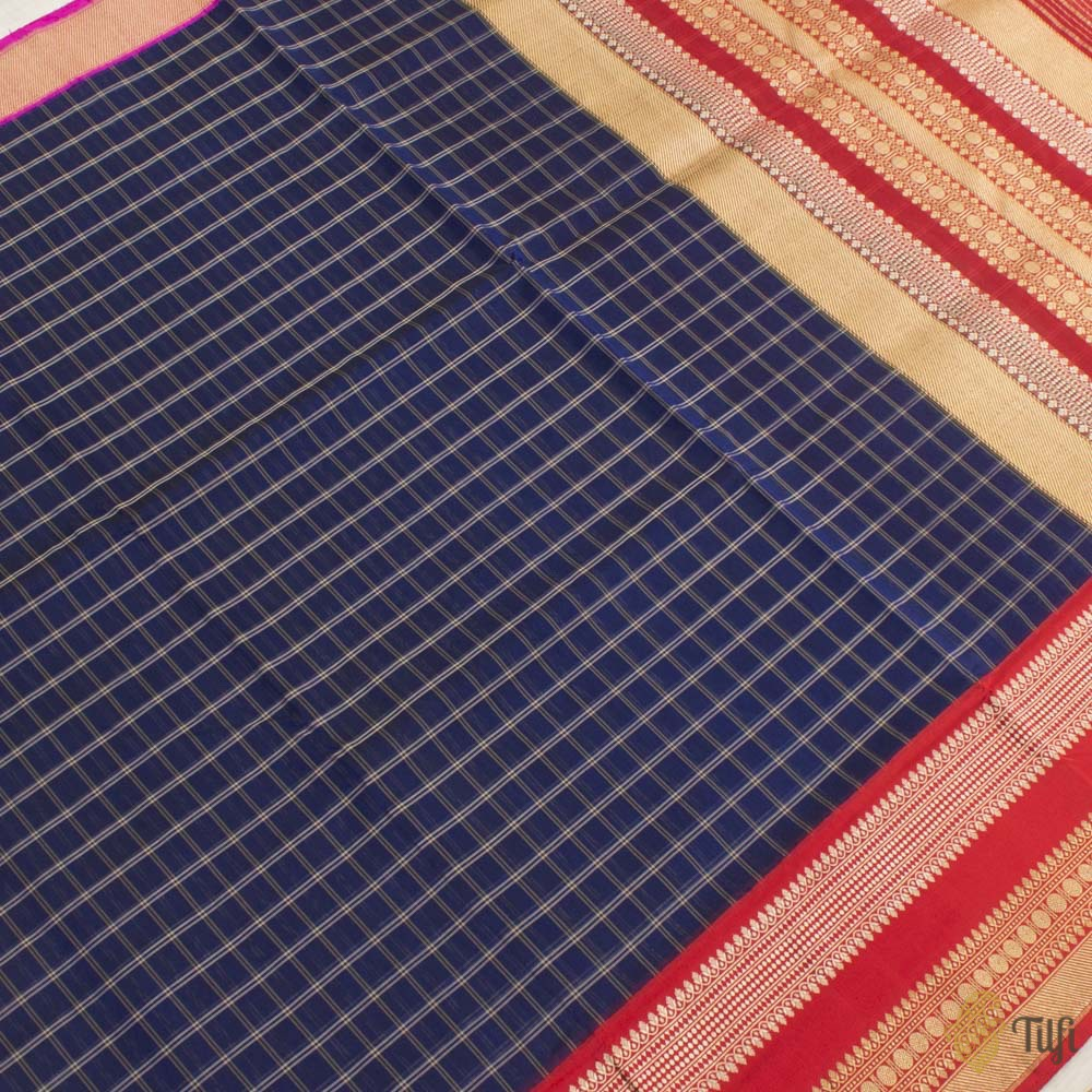 Midnight Blue Pure Kora Silk Banarasi Handloom Saree