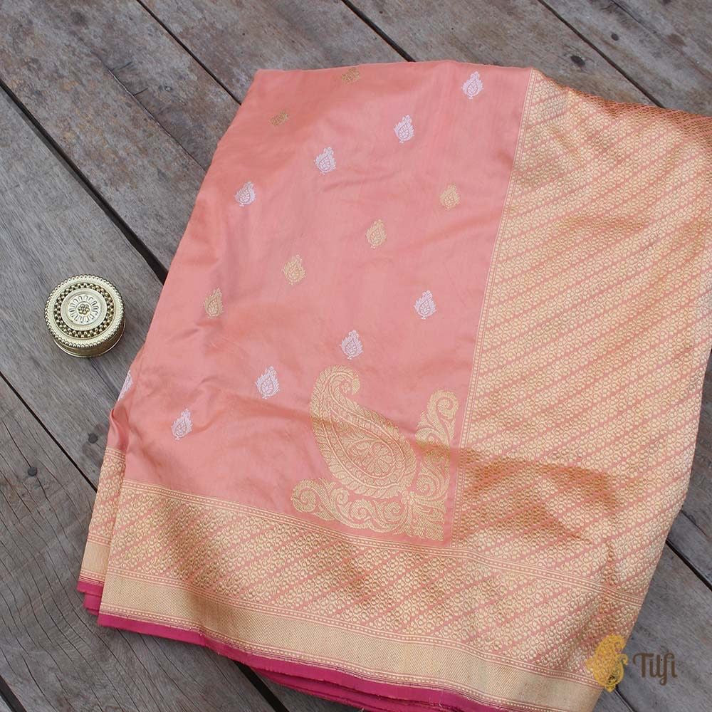 Cream-Peach Pure Katan Silk Banarasi Handloom Saree