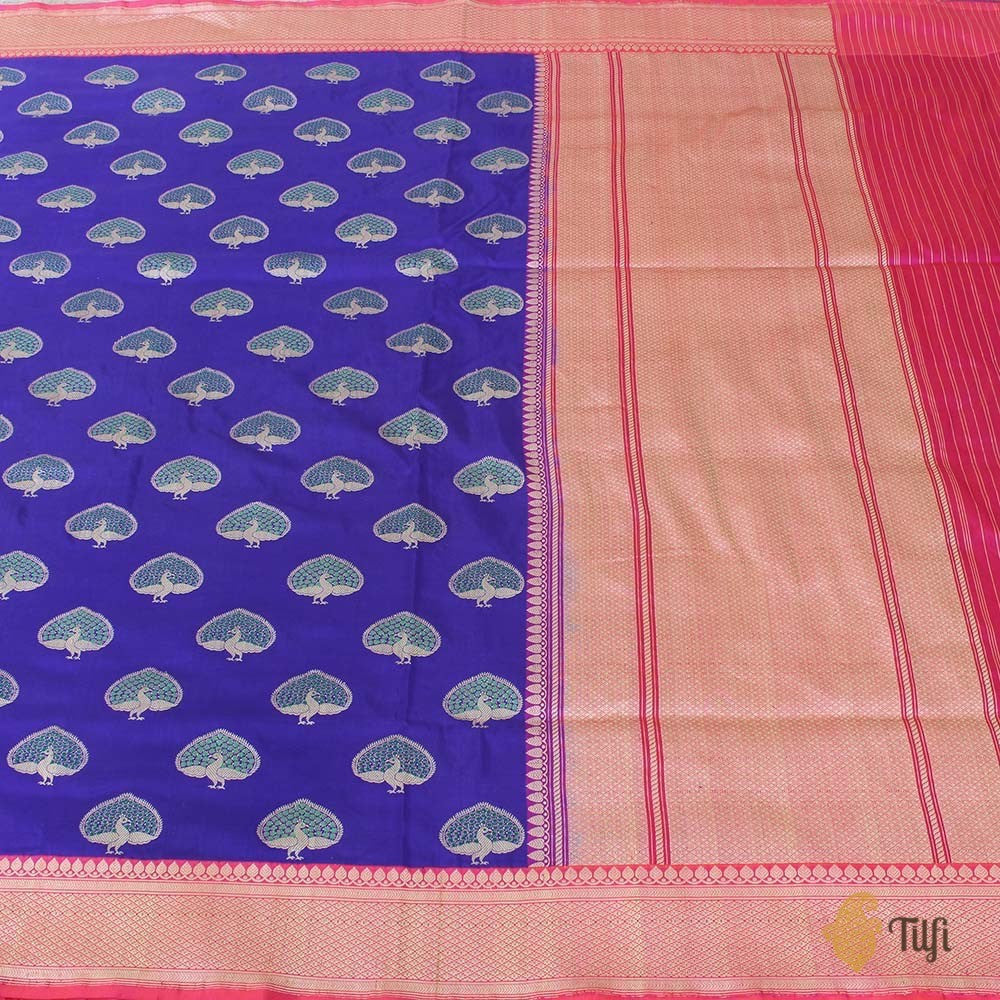 Purple Pure Katan Silk Banarasi Handloom Saree