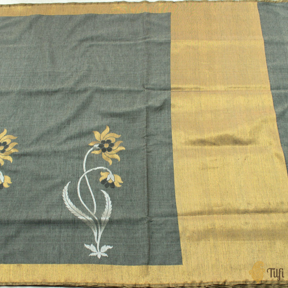 Dark Grey Pure Fine Tussar Silk by Cotton Handloom Banarasi Saree