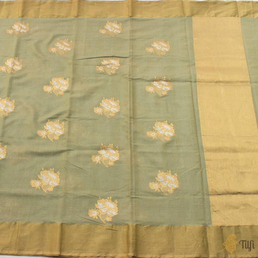 Light Pista Green Pure Fine Tussar Silk by Cotton Handloom Banarasi Saree