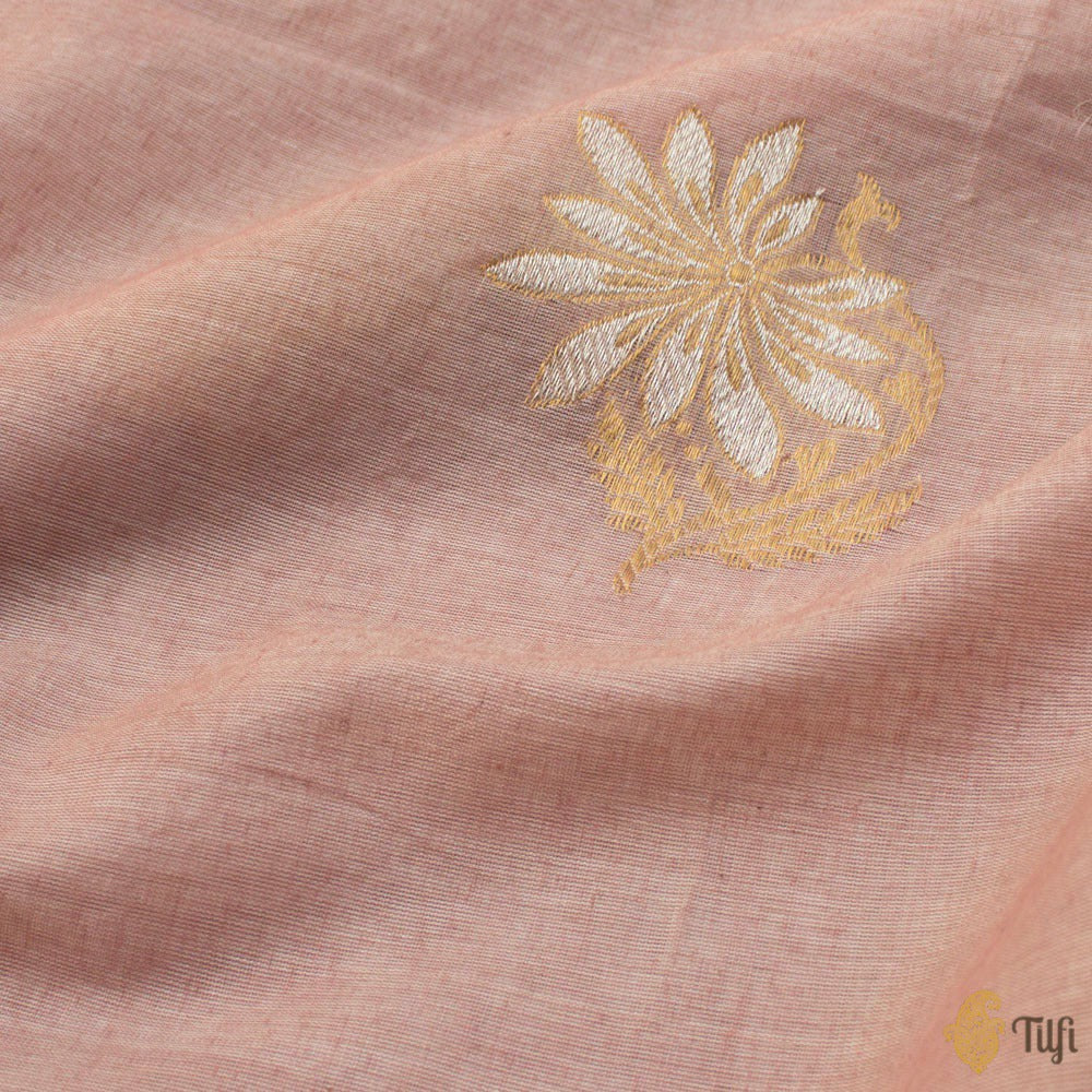 Light Pink Pure Fine Tussar Silk by Cotton Handloom Banarasi Saree