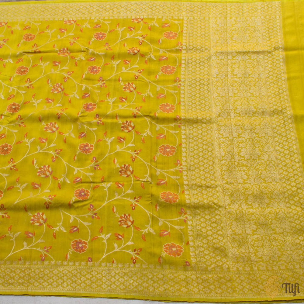 Yellow Pure Tussar Georgette Silk Banarasi Handloom Saree