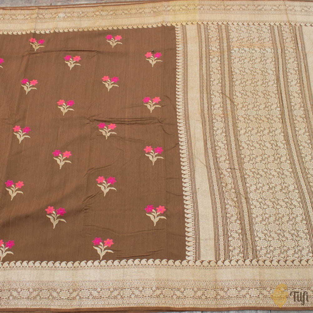 Brown Pure Tussar Georgette Silk Banarasi Handloom Saree