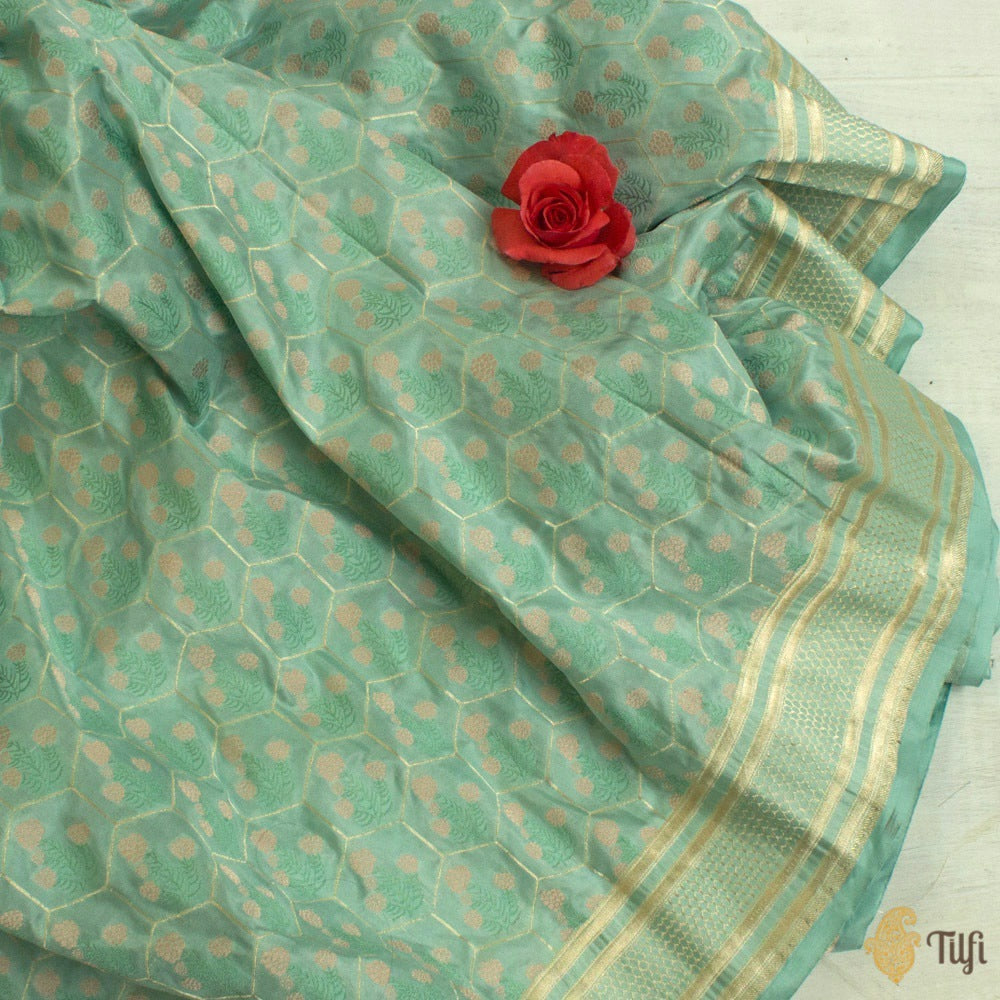 Blue Pure Katan Silk Banarasi Handloom Saree
