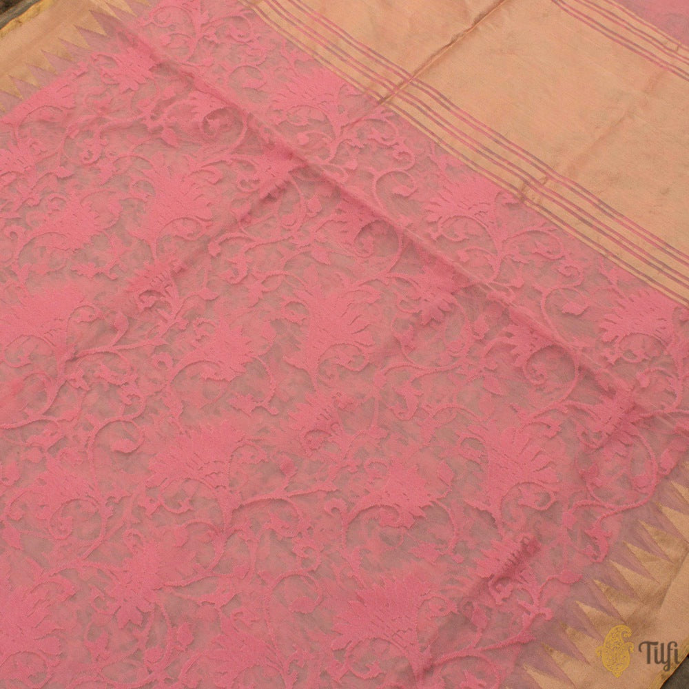 Carnation Pink Pure Kora Silk Net Banarasi Handloom Saree