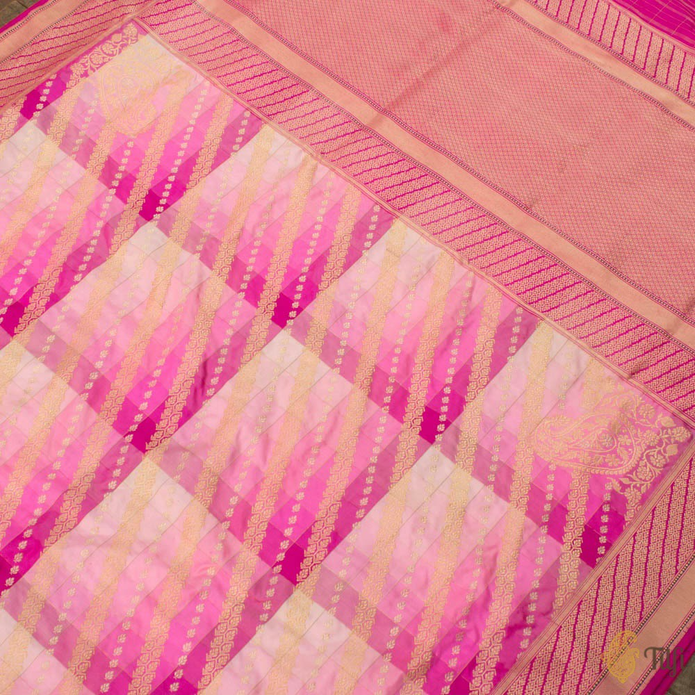 Shades of Pink Pure Katan Silk Banarasi Handloom Saree