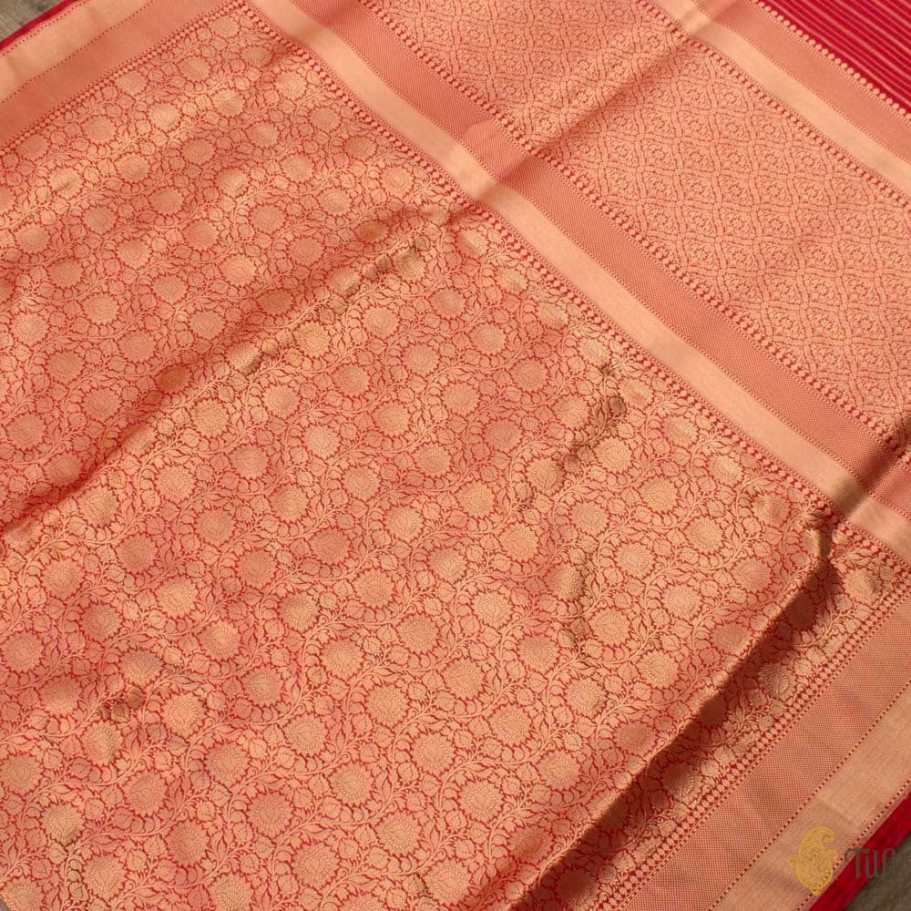 Red Pure Katan Silk Banarasi Zari Vasket Handloom Saree