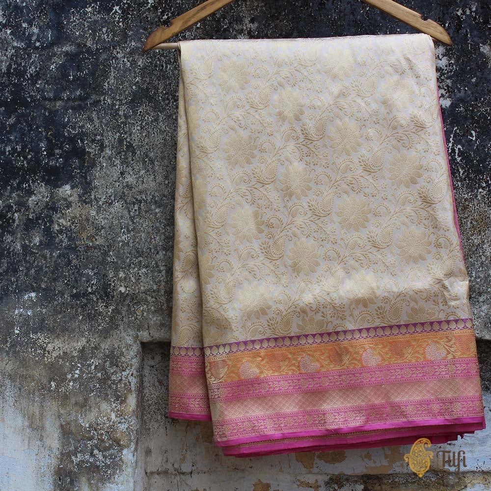 Off White-Gajri Pink Pure Katan Silk Banarasi Handloom Saree