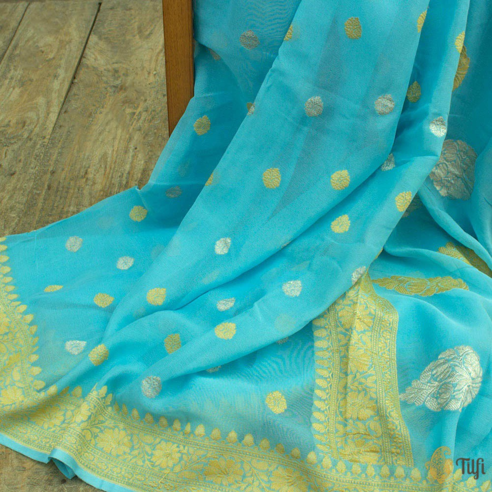Deep Sky Blue Pure Georgette Banarasi Handloom Saree