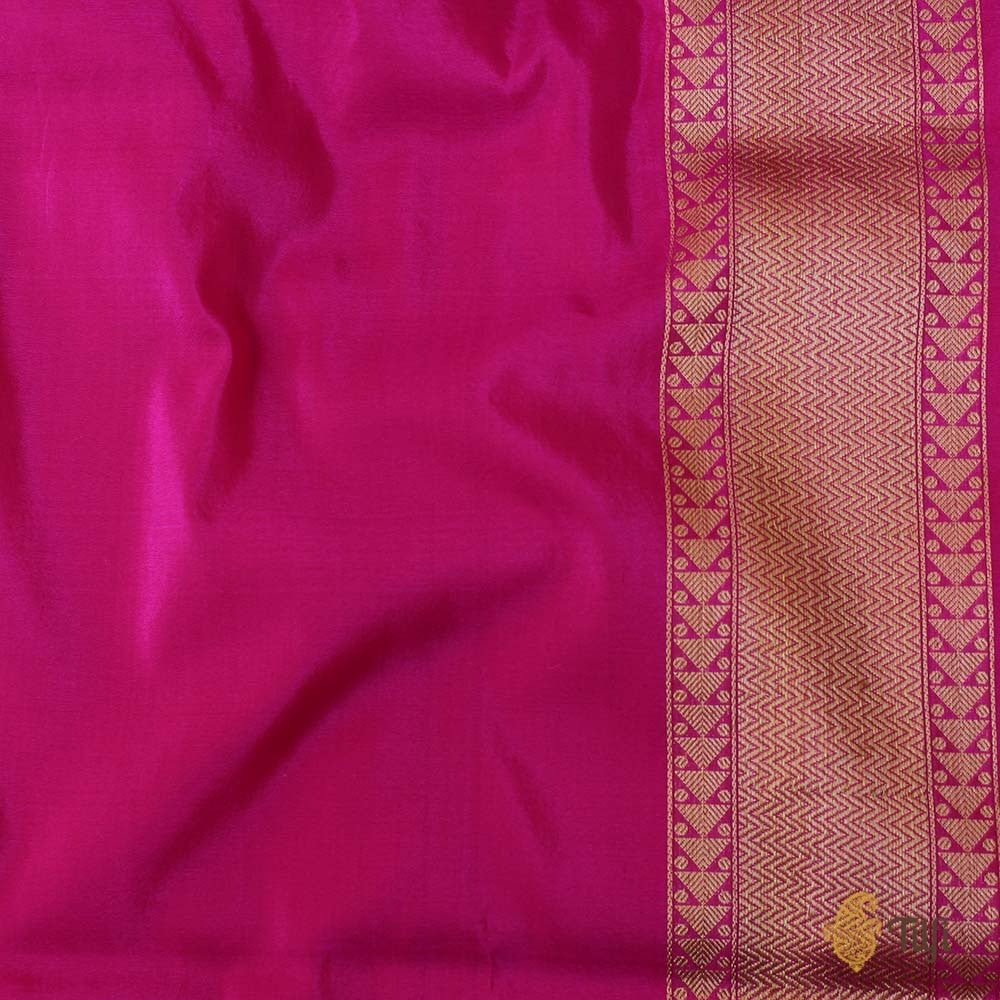 Pink-Orange Pure Silk Georgette Banarasi Handloom Saree